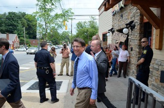 Gov. Pat McCrory met with supporters at Mellow Mushroom after a visit to campus. He was also met with protestors during his visit to King Street. (Michael Bragg | The Appalachian)