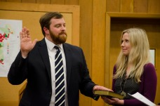 Andy Ball takes the oath of office for Mayor of Boone. (Michael Bragg | The Appalachian)